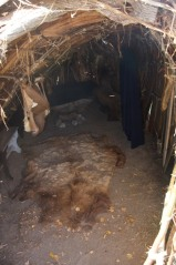 Ft. Michilimackinac, inside the Indian shelter.